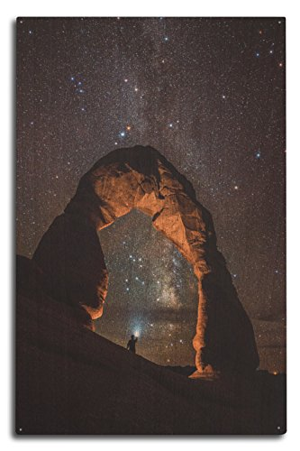 Lantern Press Arches National Park, Utah - Delicate Arch and Milky Way (10x15 Wood Wall Sign, Wall Decor Ready to Hang)