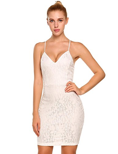 Elesol Women Deep V-neck Floral Lace Sexy Cami Sheath Dress