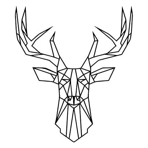 Amazon.com: Geometric Deer Head Wall Decal. Animal Vinyl ...