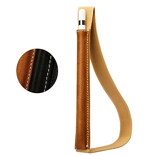 Jisoncase Apple Pencil Case Cover Genuine Leather Slim Sleeve Carrying Bag Protective Pencil Holder with Elastic Band for Apple iPad Pro Pencil Brown JS-APL-01A20