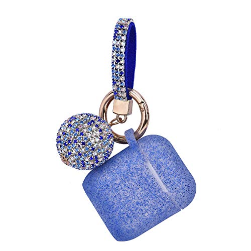 Apple Airpods Case Keychain, Filoto Airpods Silicone Glittery Case, Scratch Proof and Drop Proof Air Pods Protective Cover Skin with Shiny Ball Key Chain (Sapphire Blue)