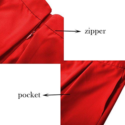 Yige Women's High Waist Flared Skirt Pleated Midi Skirt with Pocket