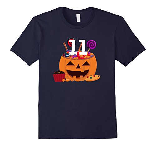 Old Navy Cupcake Costumes (Mens Pumpkin O' Lantern T-shirt 11th Birthday Kids Youth 3XL Navy)
