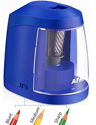 Colored Pencil Sharpener-USB & AC Adapter and Battery Operated Electric Pencil Sharpener, Heavy Duty Helical Blade Sharpener for No.2 and Colored Pencils for Kids, Students, Adults, Artists, Blue by AFMAT