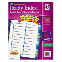 (3 Pack Value Bundle) AVE11321 Ready Index Two-Column Table of Contents Divider, Title: 1-24, Multi, Letter