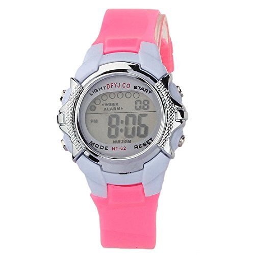 SMTSMT Children's Digital Quartz Alarm Date Sports Wrist Watch-Pink