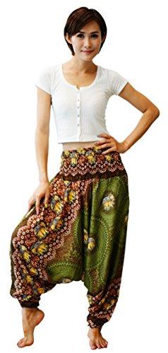 Firstharem Floral Women Yoga Jumpsuit Harem Pants (Olive Green Elephant)