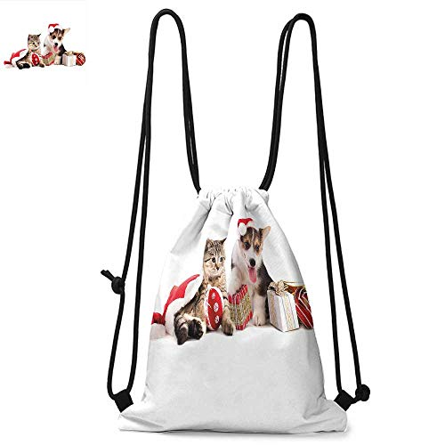 (Christmas Easy to carry drawstring backpac Dog and Cat in Santa Hats with Surprise Boxes and Balls New Year Celebration Durable Drawstring Backpack W13.4 x L8.3 Inch Red White Brown)