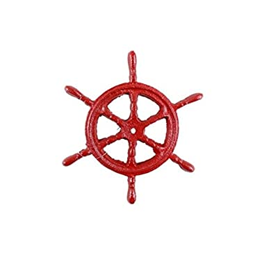 Rustic Red Cast Iron Ship Wheel Trivet 6 Inch - Ship Wheel Decoration - Beach Coastal Decor