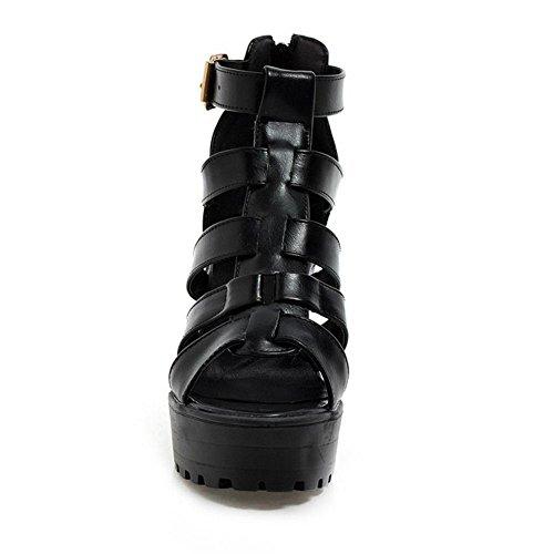 RAZAMAZA Mujer Moda Verano Colegio Tacon Ancho Sandalias Plataforma Gladiator Cremallera Zapatos Negro