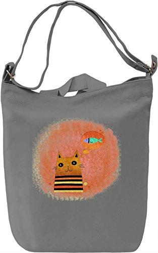 Cute Cat Borsa Giornaliera Canvas Canvas Day Bag  100% Premium Cotton Canvas  DTG Printing 