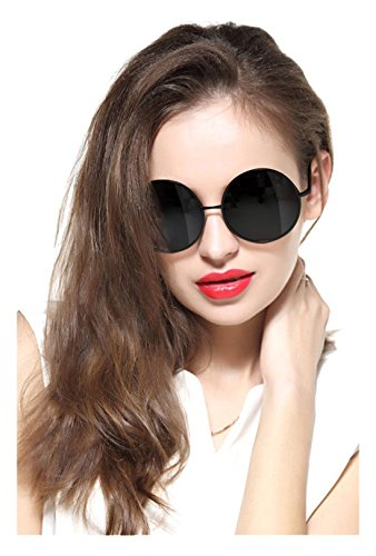 GEELOOK Oversized Round Circle Mirrored Hippie Hipster Sunglasses - Metal Frame (Black Matte Frame / Black Lens, - Round Womens Sunglasses Large