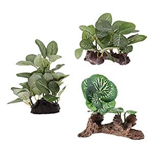 Flameer 3 x Bearded Dragon Resin Artificial Water Grass Plant, Flexible Reptile Leaves Habitat Decor for Climbing…
