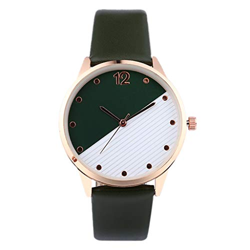 NXDA Women's wrist watch sleek minimalist leather strap quartz movement analog watch easy to read two-color dial (Army Green)