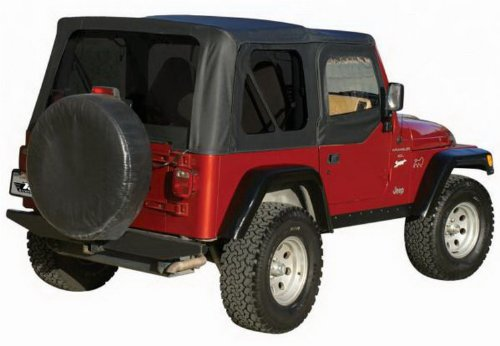 Soft Hardware Top (RAMPAGE PRODUCTS 68535 Complete Soft Top Frame & Hardware 1997-2006 Jeep Wrangler TJ Soft Upper Doors, Black Diamond w/Tinted Windows)