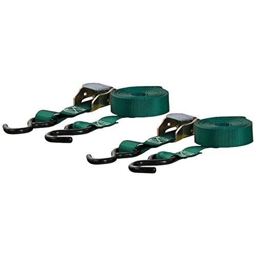 Curt Manufacturing Cambuckle Tie Down Cargo Straps 1inx15ft 2 Pack Green