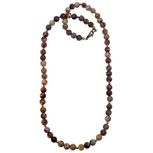 SatinCrystals Rhyolite Necklace 7mm Boutique Beaded Genuine Birds Eye Red Cream Round Gemstone Handmade Healing B01 (18