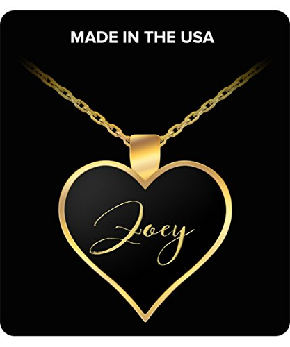 Uncle Seal Zoey Name Necklace - Personalized Charm Heart Pendant - Gold/Silver - Lovely Present For Any Occasion - Daughter Gift