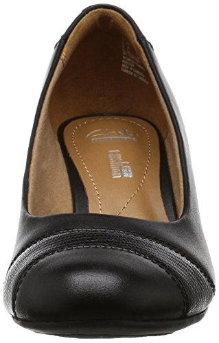Clarks zapatos inteligentes de tacón de cuña de tacha de Brielle Black Leather