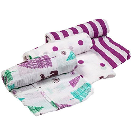 Cutie Bebe Nursery Muslin Swaddle Blanket Set- Large Cotton Receiving Blanket for Newborn, Baby Girl or Boy Unisex, 47