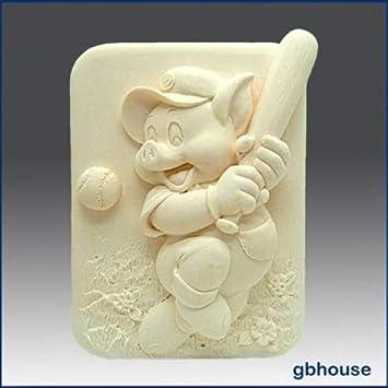 Piggy en la placa - detalles de alta alivio escultura - silicona jabón/arcilla de polímero de//Porcelana fría Mold: Amazon.es: Juguetes y juegos