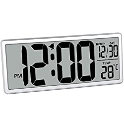 TXL 13.9 Jumbo Digital Alarm Clock Battery Operate Extra Large LCD Display 4.6 Bold Font Calendar, 12/24 Mode Temperature Energy Saving Office Kitchen School Warehouse Gym Wall/Desk Clock, Silver