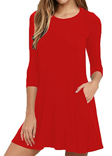 Women's Plain Half Sleeve Simple Loose Flowy Casual Womens Spring Dresses Knee Length Spring Dress Pair with Jeans and Boots Red XL Simple Half Sleeve
