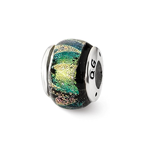 925 Sterling Silver Charm For Bracelet Green Dichroic Glass Bead Glas Fine Jewelry Gifts For Women For Her ()