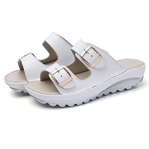 SODIAL Fashion Summer Women Shoes Casual Sandals Leather Sandals Beach Slipper Peep Toe Sandals Platform Cute Soft Comfortable Shoes White 35 White