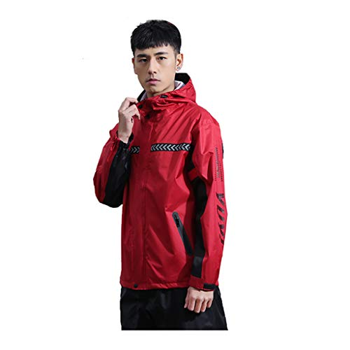 Rain Jacket Mens Waterproof Packable Jacket - Foldaway Hood Jacket, Lightweight Rain Jacket - for Wet Weather & Travelling Jacket and Trousers Set