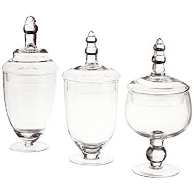Home Essentials Terra Collection Assorted Footed Glass Canisters With Lids (Set of 3)