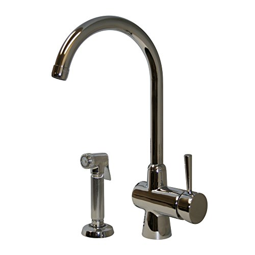 Whitehaus WH16666C Evolution arcade single lever mixer with gooseneck swivel spout and a fluted solid brass side