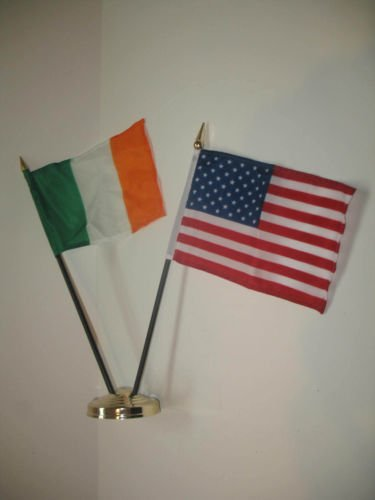 Ireland Irish USA American Flag 4''x6'' Desk Set Table Stick Gold Base BEST Garden Outdor Decor polyester material FLAG PREMIUM Vivid Color and UV Fade Resistant by Moon