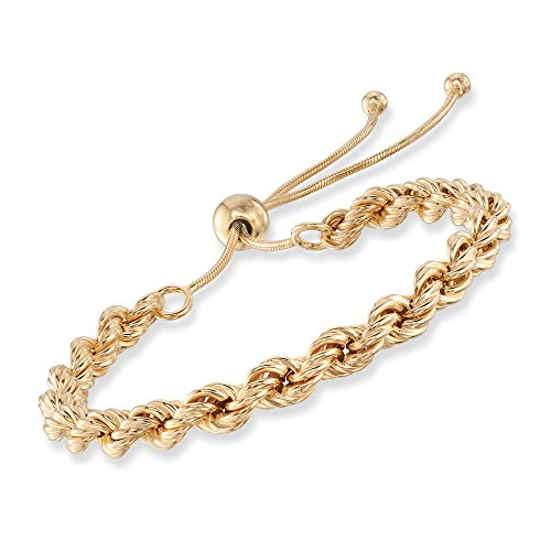 Ross-Simons Italian 18kt Gold Over Sterling Rope-Style Bolo Bracelet (Jewelry Silver Marco San)