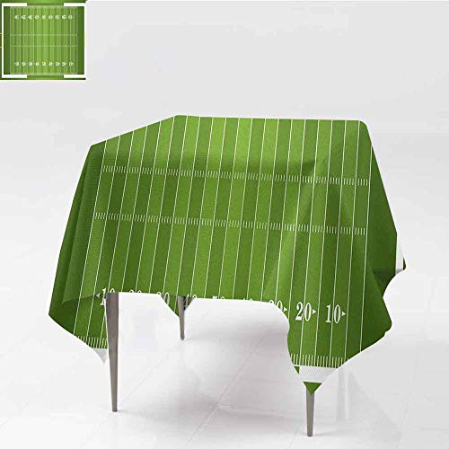 """Rchangquxu Football 50""""x 50""""Tablecloth Sports Field in Green Gridiron Yard Competitive Games College Teamwork SuperbowlGreen White-Great for Buffet Table Parties Holiday Dinner & More"""
