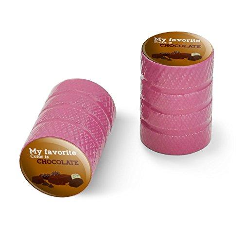 オートバイ自転車バイクタイヤリムホイールアルミバルブステムキャップ - ピンク私の好きな色はチョコレートです