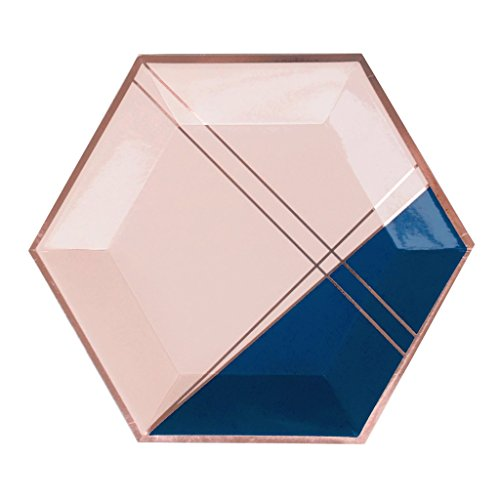 Pink Rose Gold Trim (Erika Colorblock Large Hexagon Modern Party Paper Plates - Pink & Gold Foil Decor (Set of 8) - by Harlow & Grey)