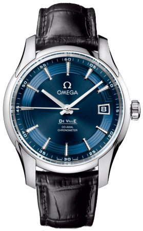 Omega DeVille Blue Dial Black Leather Mens Watch 431.33.41.21.03.001