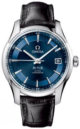 Omega DeVille Blue Dial Black Leather Mens Watch 431.33.41.21.03.001