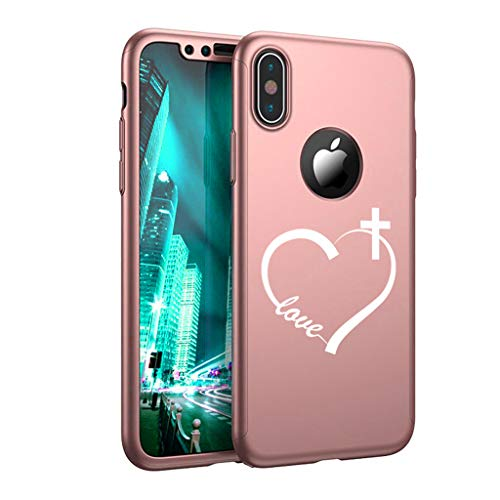 360° Full Body Thin Slim Hard Case Cover + Tempered Glass Screen Protector for Apple iPhone Love Heart Cross Christian (Rose-Gold, for Apple iPhone XR)