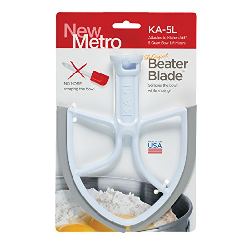 Original Beater Blade for 5-Quart KitchenAid Bowl Lift Mixer, KA-5L, White, Made in the USA - Metal Dough Blade