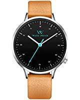Welly Merck Mens Watches Leather Quartz Analog Swiss Movement 42MM Thin Stainless Steel Mans with Italian Leather Band 5ATM Waterproof (Black face-Brown Band)