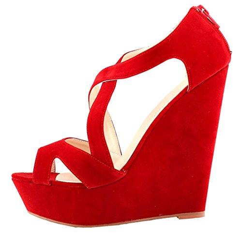 Azbro Mujer Zapatos De Cuñas Solido Multi-Correas Punta Abierta Naranja