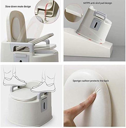 Draagbaar Toilet, Met Seat dekselgrepen And Roll Holder Compact Afval oplossing for binnen en buiten Loo Met Caravan Picnic en festivals ZHNGHENG