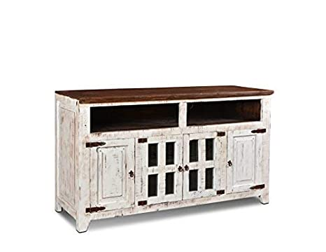 Amazon Com Westgate Solid Wood 60 Rustic White Tv Stand Kitchen