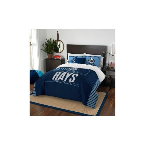 The Northwest Company MLB Tampa Bay Rays Grand Slam Two Sham Set, Navy Blue, Full/Queen Size (Bed Tampa Rays Bay)