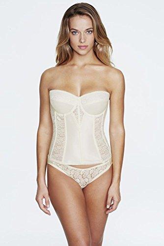 - Dominique Satin and Lace Torsolette Bridal Bustier Style 8949, Ivory, 36B