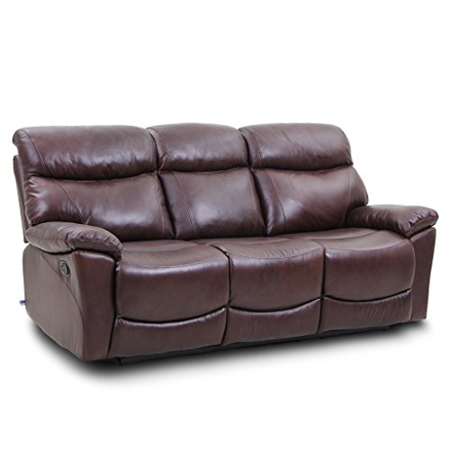 Top Grain Leather Reclining Sofa 3 Seats in Brown