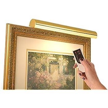 LED Remote Control Picture Light Cordless -Light Antique Brass Hue ...