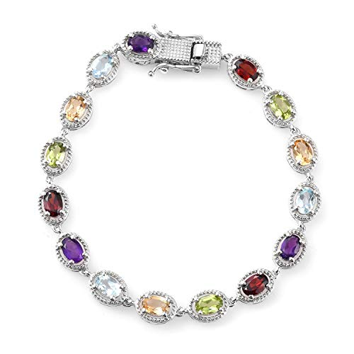 (Gemstone Link Tennis Bracelet for Women 925 Sterling Silver Platinum Plated Oval Peridot Amethyst Topaz Citrine Garnet 7.25